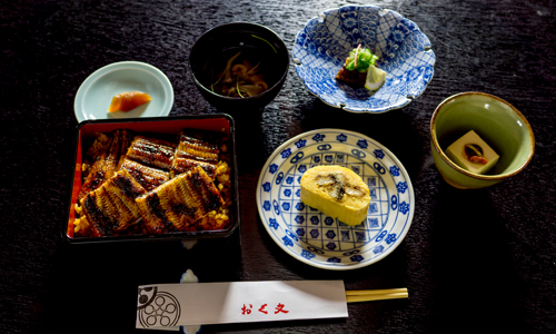 Unaju set (includes grilled eel on rice, grilled eel with egg, grilled eel and cucumber marinaded with vinegar, soup, plus one additional side dish)