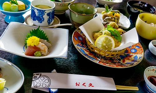 Seasonal Japanese course dishes
